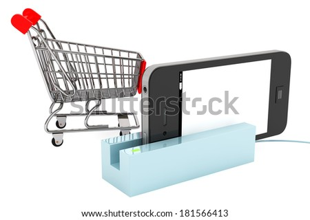 Shopping Cart with Modern Mobile phone in Card Reader on a white background - stock photo