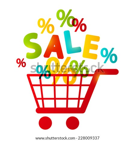 Shopping cart with percent symbols - stock photo