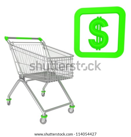 Shopping cart with percentage inwardly sign - stock photo