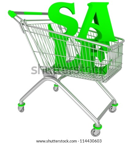 Shopping cart with sale tex - stock photo
