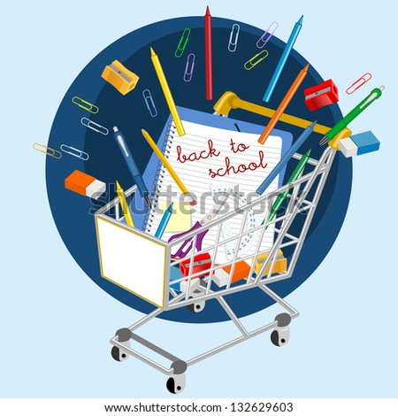 Shopping cart with school supplies - stock photo