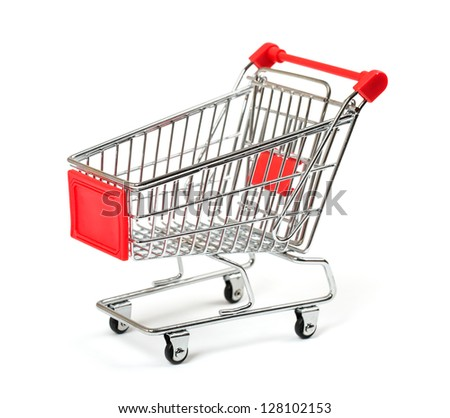 Shopping Cart with shadow isolated on white - stock photo
