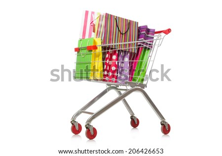 Shopping cart with supermarket basket - stock photo