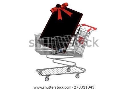 shopping cart with TV set  isolated on white background - stock photo