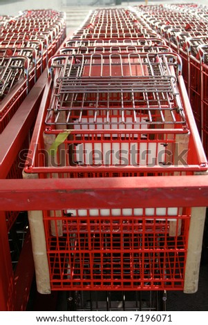 shopping carts in a supermarket - stock photo