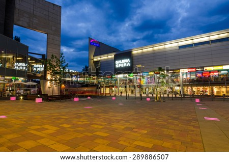 SHOPPING CENTER SFERA, BIELSKO-BIALA, POLAND - JUNE 16: Big shopping center in city centrum, June 16, Bielsko-Biala, Poland. Mall was build in two steps - 2001 and 2009 year - stock photo