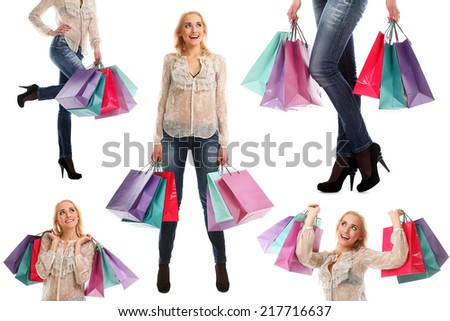 Shopping, collage. Attractive woman with bags on a white background - stock photo