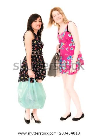 Shopping Female Friends - stock photo