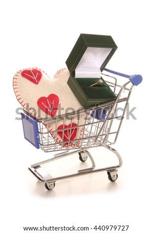 Shopping for an engagement ring cutout - stock photo
