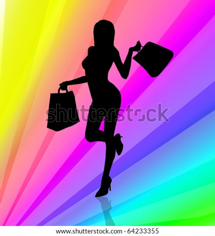 Shopping girl illustration on rainbow stripes background - stock photo