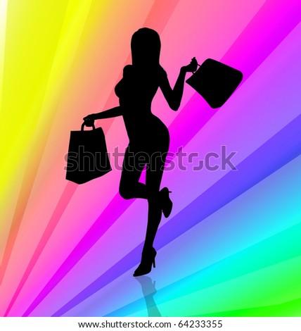 Shopping girl illustration on rainbow stripes background - stock photo