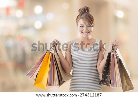Shopping girl of Asian, closeup portrait isolated on white with clipping path. - stock photo