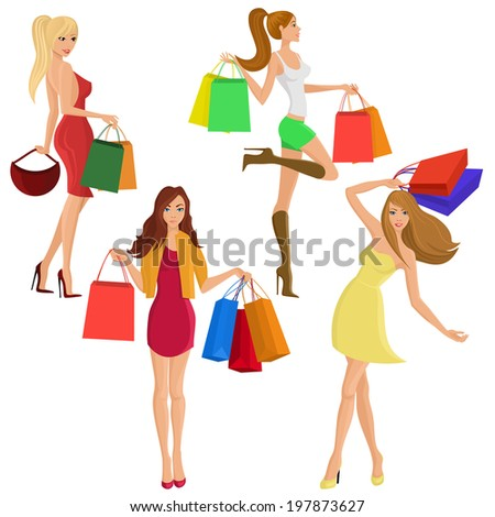 Shopping girl young sexy female figures with sale fashion bags isolated  illustration - stock photo