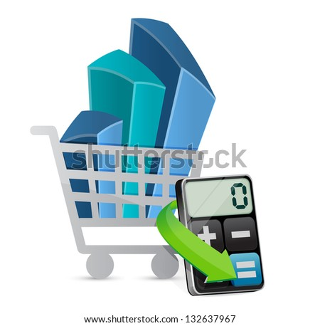 shopping graph and modern calculator illustration design over white - stock photo