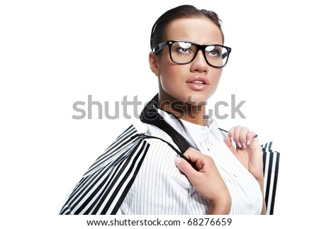 Shopping happy woman. Isolated over white background - stock photo