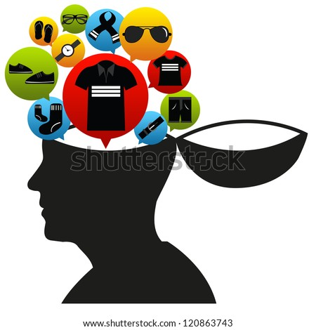 Shopping in Mind Concept Present by Open Head With The E-Commerce Icon For Men Fashion Isolate on White Background - stock photo