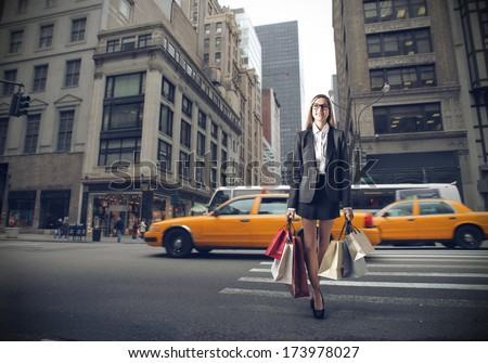 shopping in NYC - stock photo