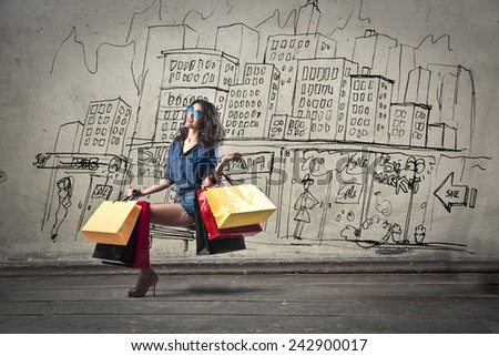 Shopping in the city  - stock photo