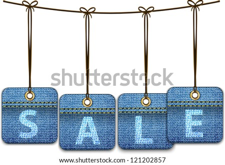 Shopping labels made of jeans. Price tags. illustration - stock photo