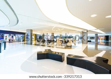 shopping mall interior billboard fashion shop - stock photo