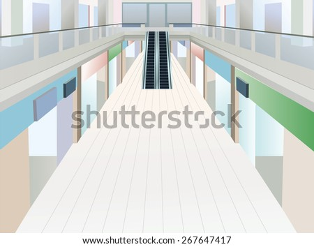 shopping mall with two floors - stock photo