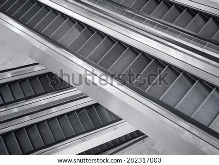 Shopping malls escalator  - stock photo