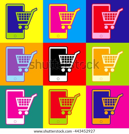 Shopping on smart phone sign. Pop-art style colorful icons set with 3 colors. - stock photo