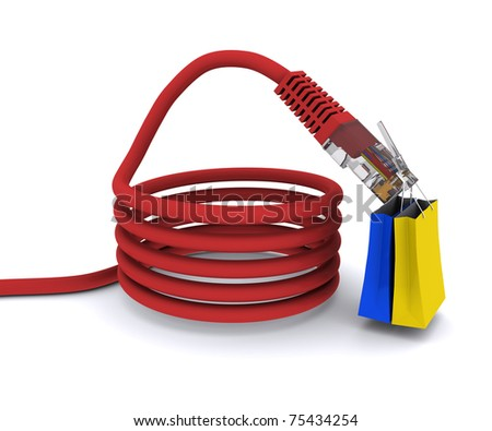 shopping on the Internet. power cord keeps the bags from the store - stock photo