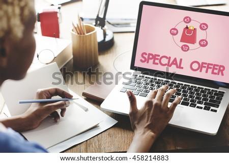 Shopping Online Buy Sale Shopahoslics Concept - stock photo