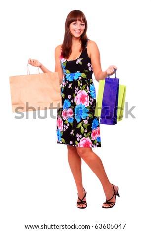 Shopping pretty woman - studio shot on white background - stock photo