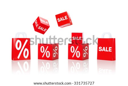 shopping, retail and merchandising concept - set of boxes and shopping bags with sale and percent sign - stock photo