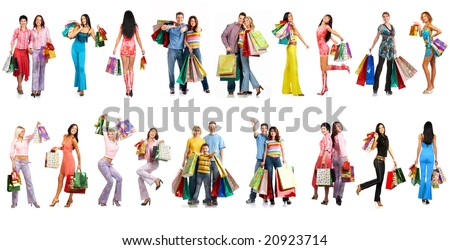 Shopping smiling people. Isolated over white background - stock photo