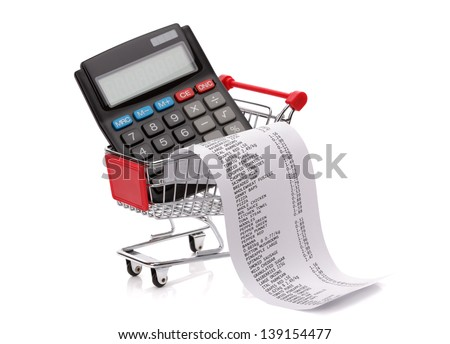 Shopping till receipt, calculator and cart concept for grocery expenses and consumerism - stock photo