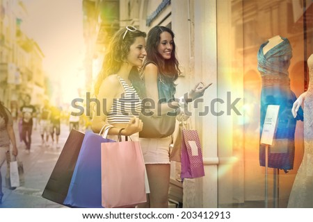shopping time with friend - stock photo
