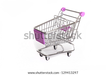 Shopping trolley isolated on white - stock photo