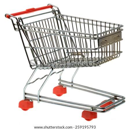 Shopping Trolley Isolated on White Background - stock photo