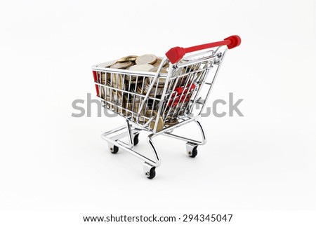 Shopping Trolley With Euro Coins - stock photo