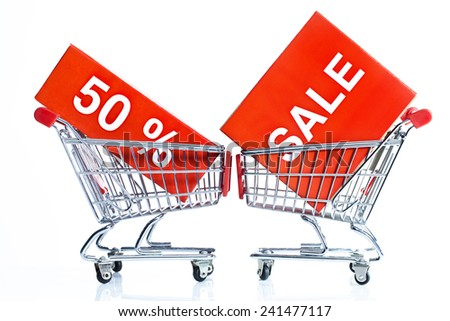 shopping trolley with sale sign - stock photo