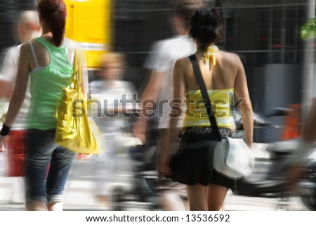 shopping. two young women with bag in the city - stock photo