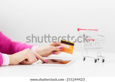 Shopping using tablet computer - stock photo