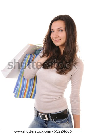 Shopping woman isolated on white - stock photo