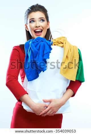 Shopping woman portrait isolated. White background. Happy shopping girl. Red dress. female beautiful model. - stock photo