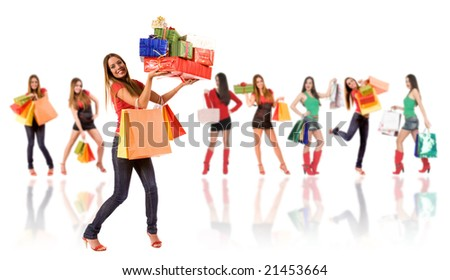Shopping woman with bag and gift boxes and blurred girl in background. - stock photo