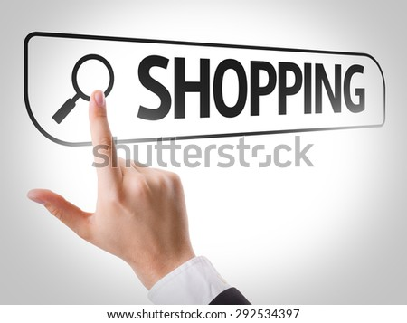 Shopping written in search bar on virtual screen - stock photo