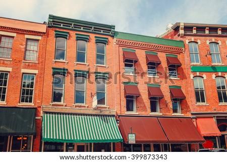Shops along main street, Galena, Illinois  - stock photo