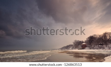 shore during a storm - stock photo