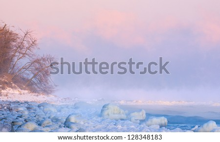 shore in the ice - stock photo
