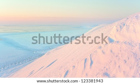 shore in the snow - stock photo