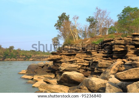 Shore of the river. - stock photo