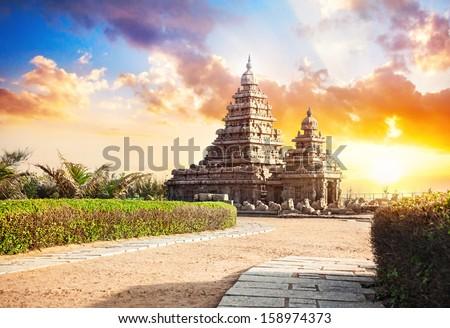 Shore temple at sunset sky in Mamallapuram, Tamil Nadu, India - stock photo